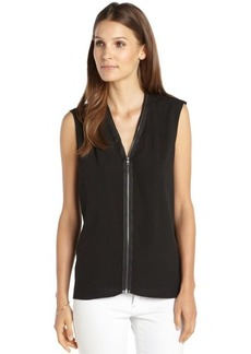 Tahari black woven zip front sleeveless 'Tessa' blouse
