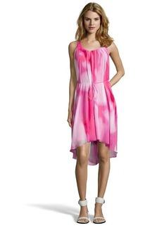 Tahari blossom pink chiffon 'Jane' high-low dress