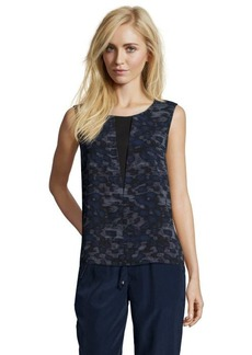 Tahari blue and black printed stretch woven knit back 'Emma' blouse