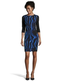 Tahari blue and black printed woven 3/4 sleeve 'Angie' dress