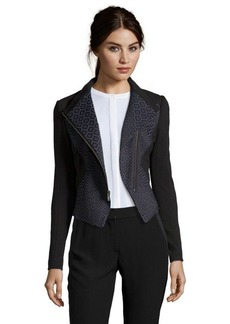 Tahari blue and black stretch jacquard woven 'Viola' jacket
