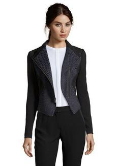 Tahari blue and black stretch jacquard woven 'Viola' jacket