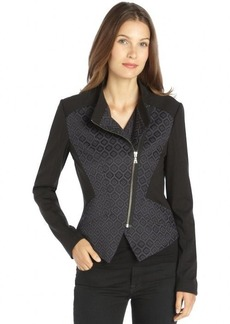 Tahari blue and black stretch woven printed jacquard 'Viola' jacket