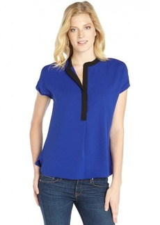 Tahari blue and black woven 'Hailey' colorblock blouse