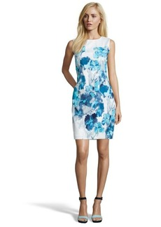 Tahari blue cotton watercolor floral woven 'Emory' dress