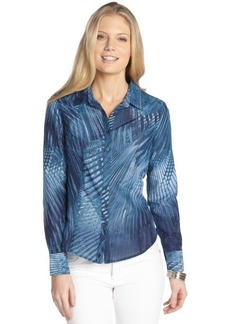 Tahari blue opal palm print cotton blend jersey back blouse