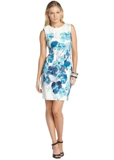Tahari blue stretch cotton 'Emory' watercolor floral pattern sleeveless dress