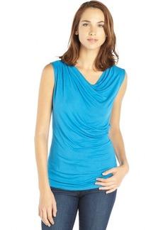 Tahari blue stretch knit cowlneck sleeveless 'Sally' tee