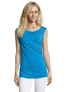 Tahari blue stretch knit cowlneck sleeveless 'Sally' tee