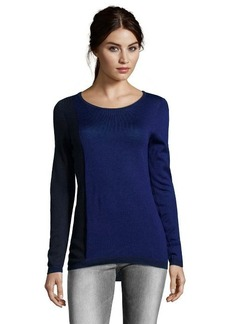 Tahari blueberry wool blend 'Kyle' colorblock crewneck sweater