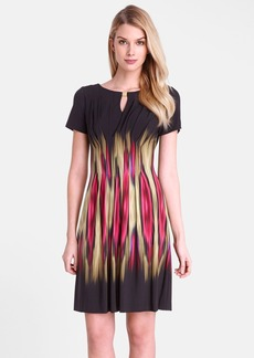 Tahari 'Blur' Print Split Neck Sheath Dress (Regular & Petite)