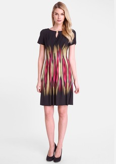 Tahari 'Blur' Print Split Neck Sheath Dress