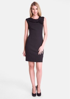 Tahari Bow Neck Jersey Sheath Dress