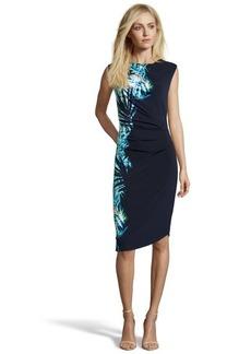 Tahari bright blue stretch knit 'Devin' tropic print ruched dress