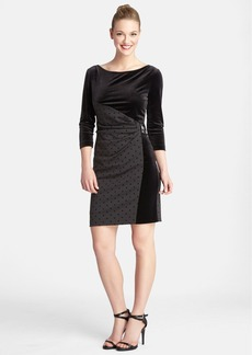 Tahari Buckle Detail Flocked Dot & Velvet Sheath Dress