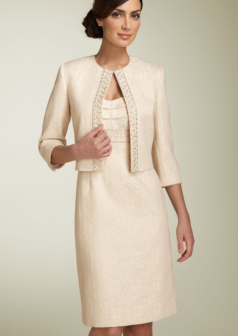 Tahari by Arthur S. Levine Metallic Jacquard Jacket & Dress (Petite)