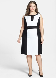 Tahari by ASL Colorblock Split V-Neck Sheath Dress (Plus Size)