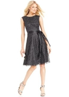 Tahari by Asl Glitter Lace Belted Dress