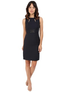 Tahari by ASL Jacquard Sheath Dress w/ Cut Outs and Rectangular Waist Hardware