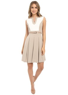 Tahari by ASL Sleeveless Color Block A-Line Dress w/ Pleated Skirt