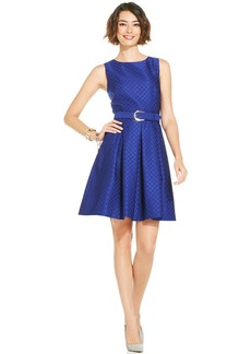 Tahari by ASL Sleeveless Pleated Jacquard Dress