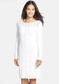 Tahari Cable Knit Cotton Sweater Dress