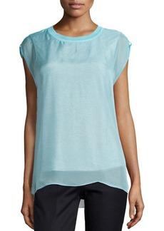 Tahari Cap-Sleeve Silk-Overlay Blouse