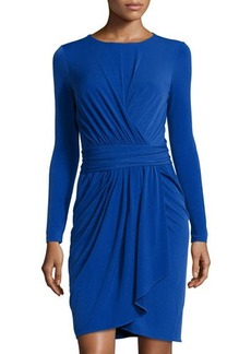 Tahari Celine Long-Sleeve Asymmetric Ruched Dress