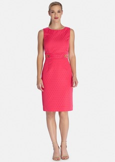 Tahari Chain Detail Jacquard Sheath Dress
