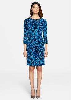 Tahari Chain Detail Leopard Print Jersey Sheath
