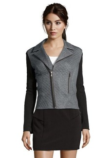 Tahari charcoal and black quilted 'Emalia' moto jacket