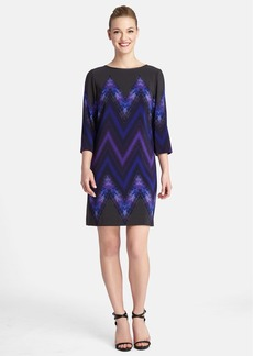 Tahari Chevron Print Crêpe de Chine Shift Dress