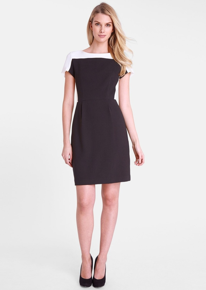 Tahari Colorblock Crepe Sheath Dress (Petite)