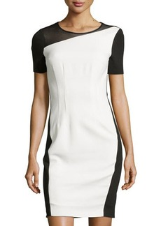 Tahari Colorblock Mesh-Neckline Short-Sleeve Dress