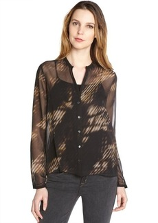 Tahari colt brown 'Anora' long sleeve blouse