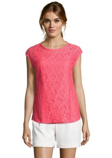 Tahari coral cotton blend lace 'Gisella' cap sleeve blouse