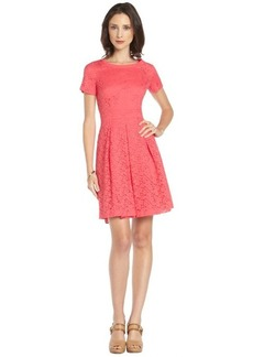 Tahari coral lace 'Glenda' short sleeve dress