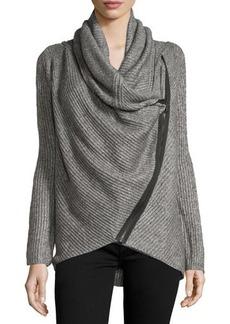 Tahari Cowl-Neck Asymmetric-Zip Sweater
