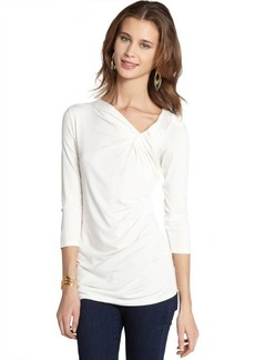 Tahari cr��me 'Tristen' three quarter sleeve ruched neck tee