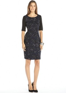Tahari dark blue and black printed woven short sleeve 'Estelle' dress