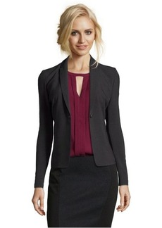 Tahari dark grey stretch woven 'Darla' single button jacket