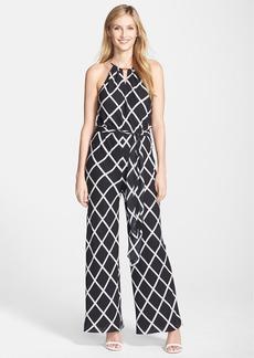 Tahari Diamond Print Chiffon Jumpsuit