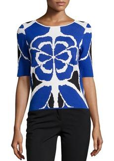 Tahari Dillon Printed Short-Sleeve Sweater