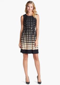 Tahari Dot Fit & Flare Dress (Petite)