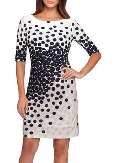 Tahari Dot Print Jersey Sheath Dress (Regular & Petite)
