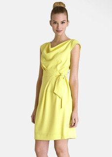 Tahari Drape Side Tie Crepe Sheath Dress (Regular & Petite)