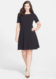 Tahari Elbow Sleeve Fit & Flare Dress (Plus Size)