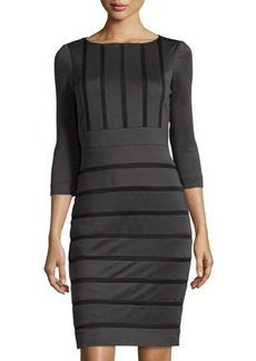 Tahari Eldridge Three-Quarter-Sleeve Striped Dress