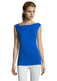 Tahari electric blue stretch 'Gwen' drape neck top