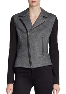 Tahari Emalia Colorblock Knit Motorcycle Jacket